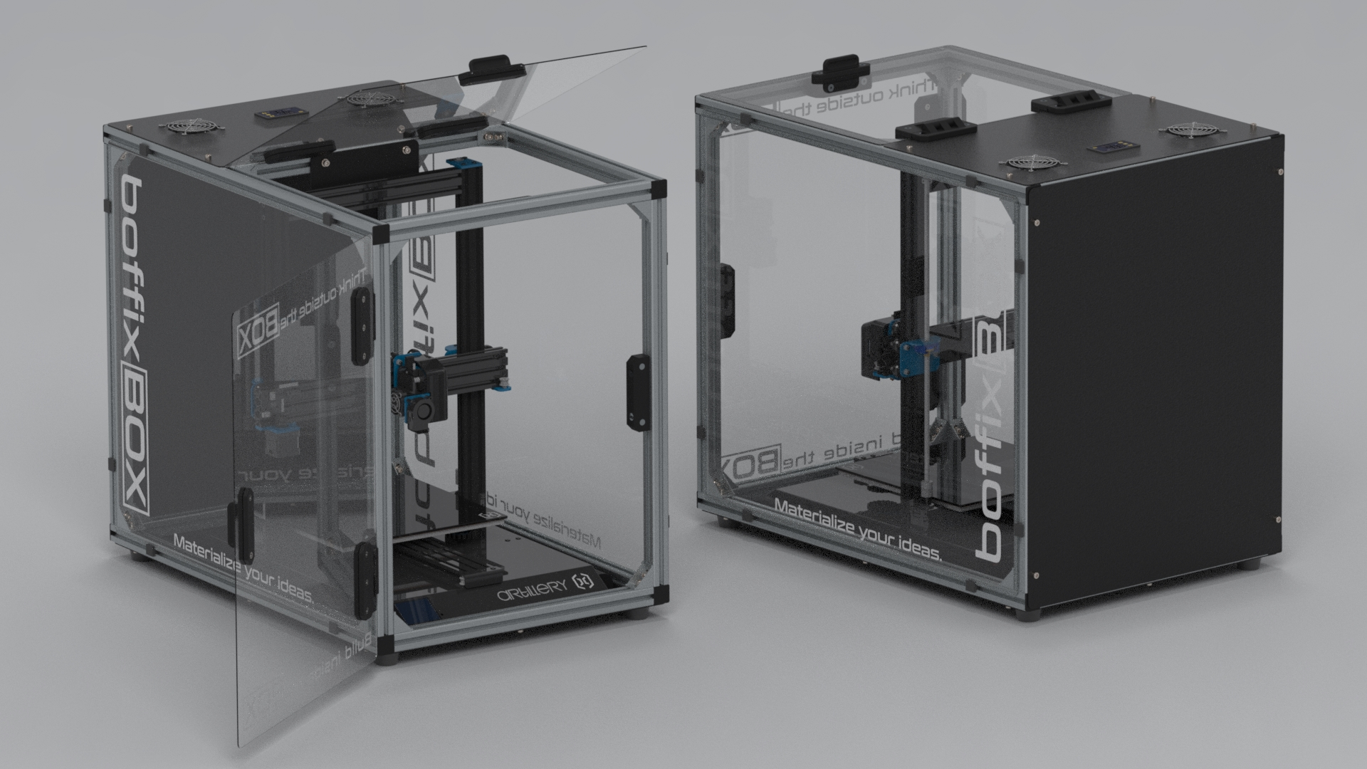 Printer in enclosure.